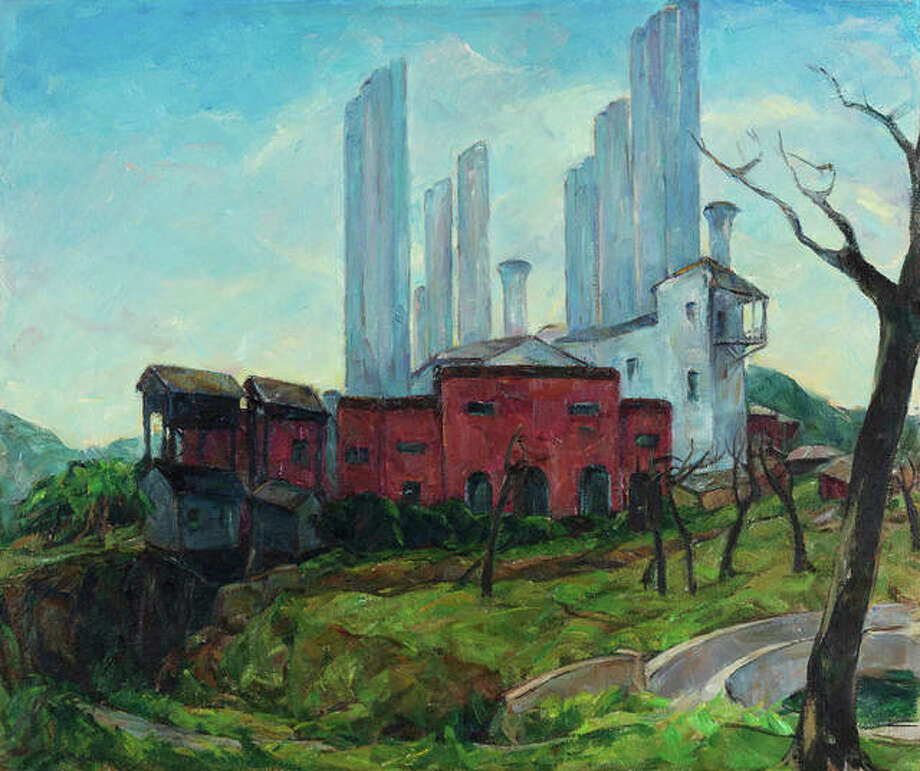 San Antonio Power and Light, an oil on canvas painting by Nellie A. Knopf, will be sold at auction by MacMurray College to help settle the school's outstanding debt. Fifteen of her paintings will be sold Sept. 30, with more than 40 paintings and drawings from the college's collection on the auction block Oct. 1.