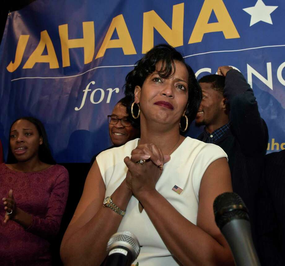 Democrat Jahana Hayes, speaks at the Waterbury Marriott on election night, November 6, 2018, in Waterbury, Conn. Hayes is running for Connecticut's 5th Congressional District. Photo: H John Voorhees III / Hearst Connecticut Media / The News-Times