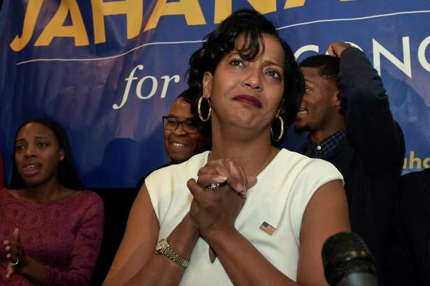 Democrat Jahana Hayes, speaks at the Waterbury Marriott on election night, November 6, 2018, in Waterbury, Conn. Hayes is running for Connecticut's 5th Congressional District.