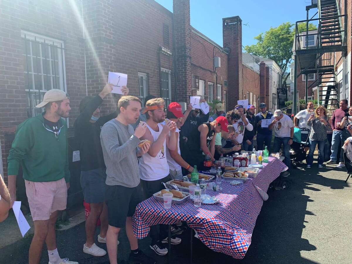 The second annual Doggin' It for Jeff hot dog eating contest, part of the Hot Dog Challenge, was held at the White Buffalo in New Canaan Saturday, Sept. 19.