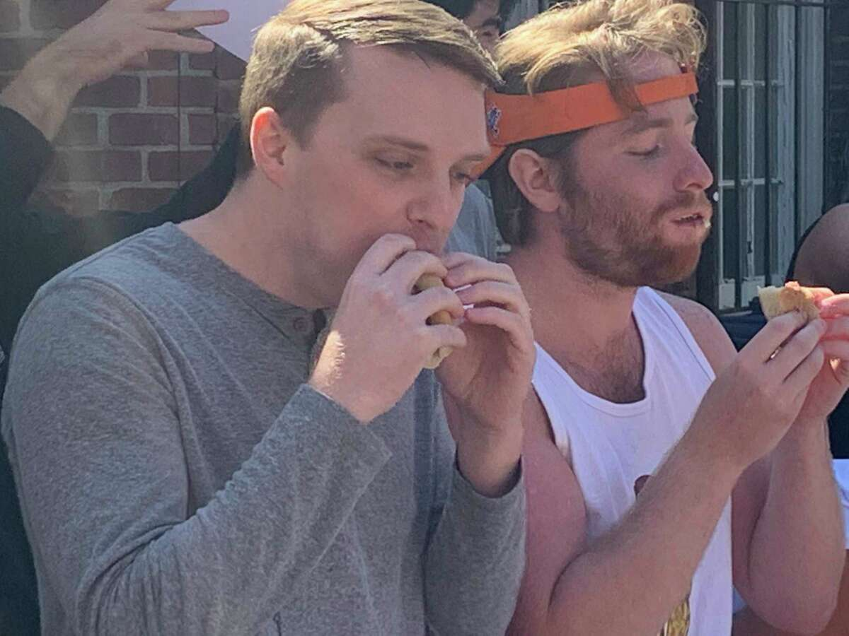 Contestants had seven minutes to consume as many hot dogs as they could in