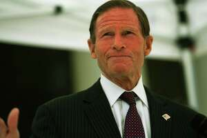 Sen. Richard Blumenthal addresses the gay pride flag-raising ceremony at the Margaret Morton Government Center in Bridgeport, Conn. on Monday, June 8, 2020.