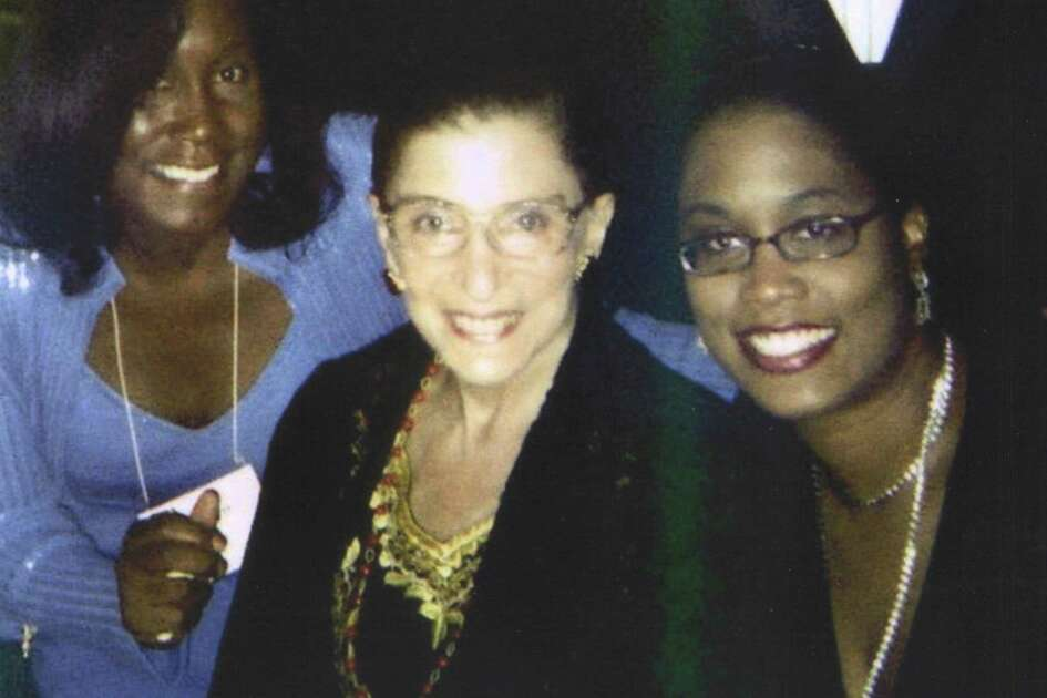 Melissa Ford, a professor of law at Quinnipiac University, with her daughter, Kishka-Kamari McClain and Justice Ruth Bader Ginsburg.