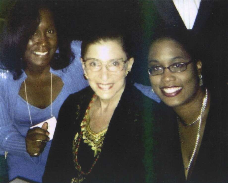 Marilyn Ford, a professor of law at Quinnipiac University, with her daughter, Kishka-Kamari McClain and Justice Ruth Bader Ginsburg. Photo: CONTRIBUTED PHOTO