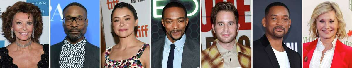 This combination photo of celebrities with birthdays from Sept. 20-26 shows Sophia Loren, from left, Billy Porter, Tatiana Maslany, Anthony Mackie, Ben Platt, Will Smith and Olivia Newton-John. (AP Photo)