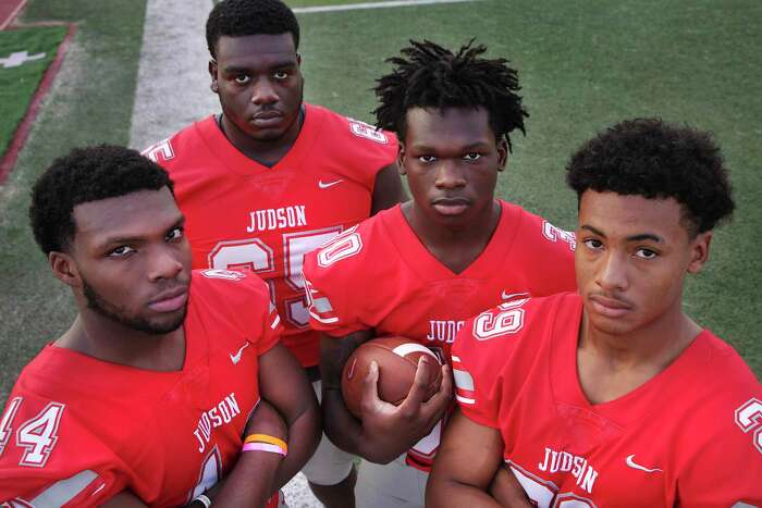 Judson football players Donnie Moody, linebacker, Kamron Scott, offensive lineman, De'Anthony Lewis, running back, and Treylin Payne, linebacker, on Wednesday, Sept. 16, 2020.