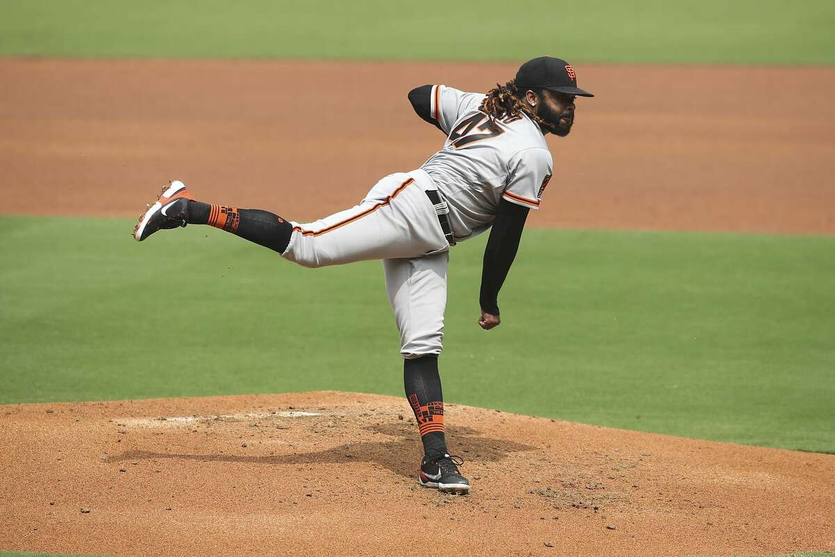 San Francisco Giants starting pitcher Johnny Cueto pitches to the San Diego Padres during a baseball game Sunday, Sept. 13, 2020, in San Diego. (AP Photo/Derrick Tuskan)