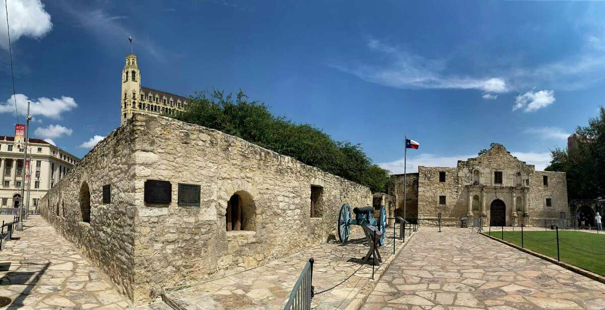 The Long Barrack, left, is seen on the Alamo grounds in this panoramic photo. The barrack was the site of intense fighting during the 1836 Battle of the Alamo.