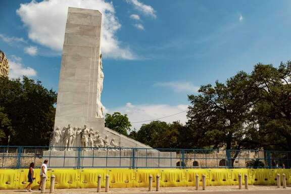 The Cenotaph, which is a memorial to the defenders of the 1836 Battle of the Alamo, might be relocated. It is shown on Thursday, Sept. 17, 2020.