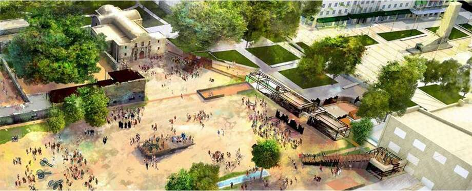 The Alamo posted a new rendering on its Facebook page last month, showing what part of the Alamo Plaza might look like in 2024, if the project moved forward as planned. Under the plan, the 1930s Alamo Cenotaph would be moved to the south end of the plaza by the Menger. But the Texas Historical Commission denied a permit last week to relocate the monument. Photo: Alamo Master Plan Management Committee /