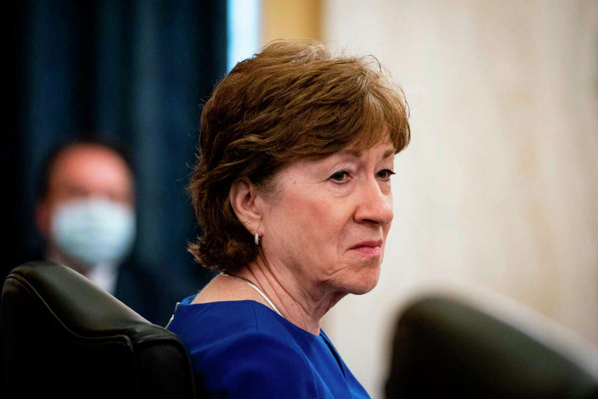 (FILES) In this file photo taken on June 10, 2020, Senator Susan Collins(R-ME) attends the Senate Small Business and Entrepreneurship Hearings to examine implementation of Title I of the CARES Act on Capitol Hill in Washington, DC. - Moderate Republican senator Susan Collins said on September 19, 2020 that the winner of the looming presidential election must be the one to nominate a successor to Supreme Court Justice Ruth Bader Ginsburg, who died one day earlier. (Photo by Al Drago / various sources / AFP) (Photo by AL DRAGO/AFP via Getty Images)