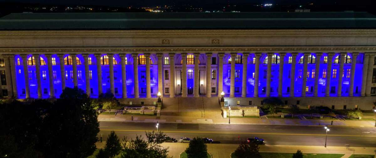 The New York State Education Department building in Albany, NY, was lit blue on Saturday, Sept. 19, 2020 to honor Supreme Court Justice Ruth Bader Ginsburg who died on Friday, Sept. 18 (Jim Franco/special to the Times Union.)