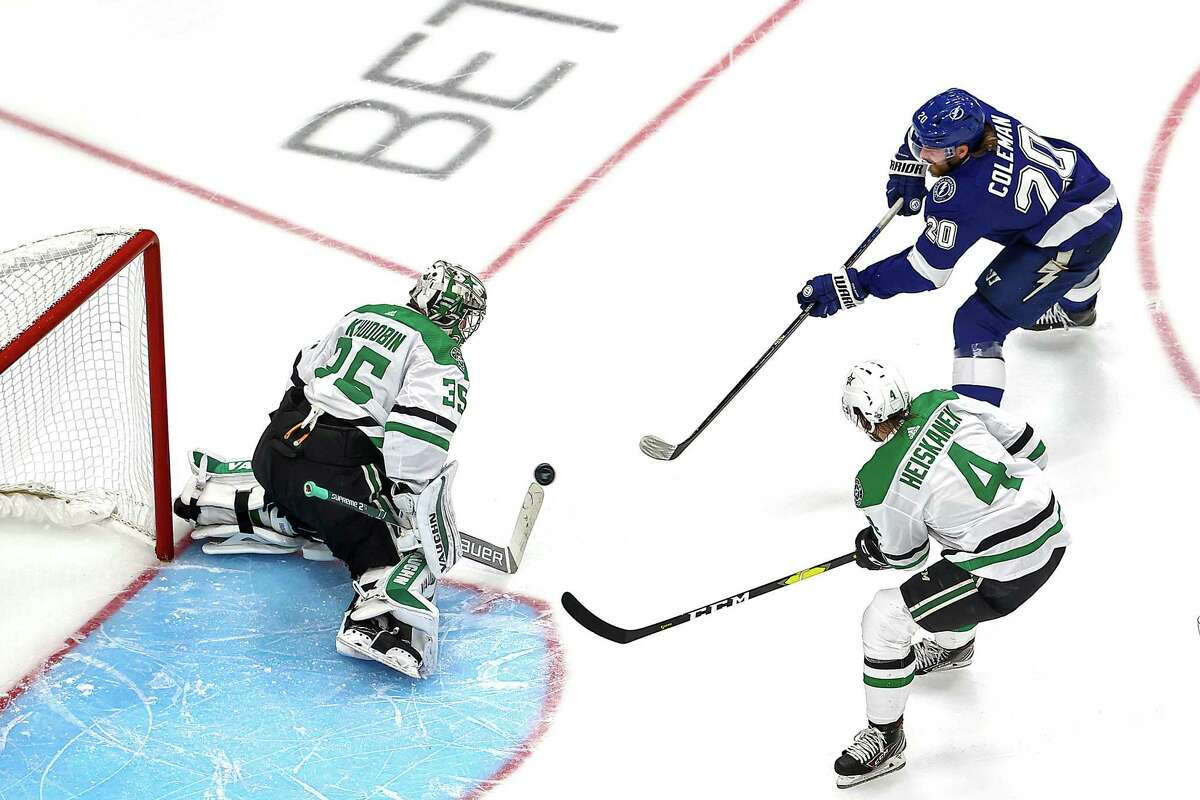 EDMONTON, ALBERTA - SEPTEMBER 19: Anton Khudobin #35 of the Dallas Stars makes the save against Blake Coleman #20 of the Tampa Bay Lightning during the third period in Game One of the 2020 NHL Stanley Cup Final at Rogers Place on September 19, 2020 in Edmonton, Alberta, Canada. (Photo by Bruce Bennett/Getty Images)