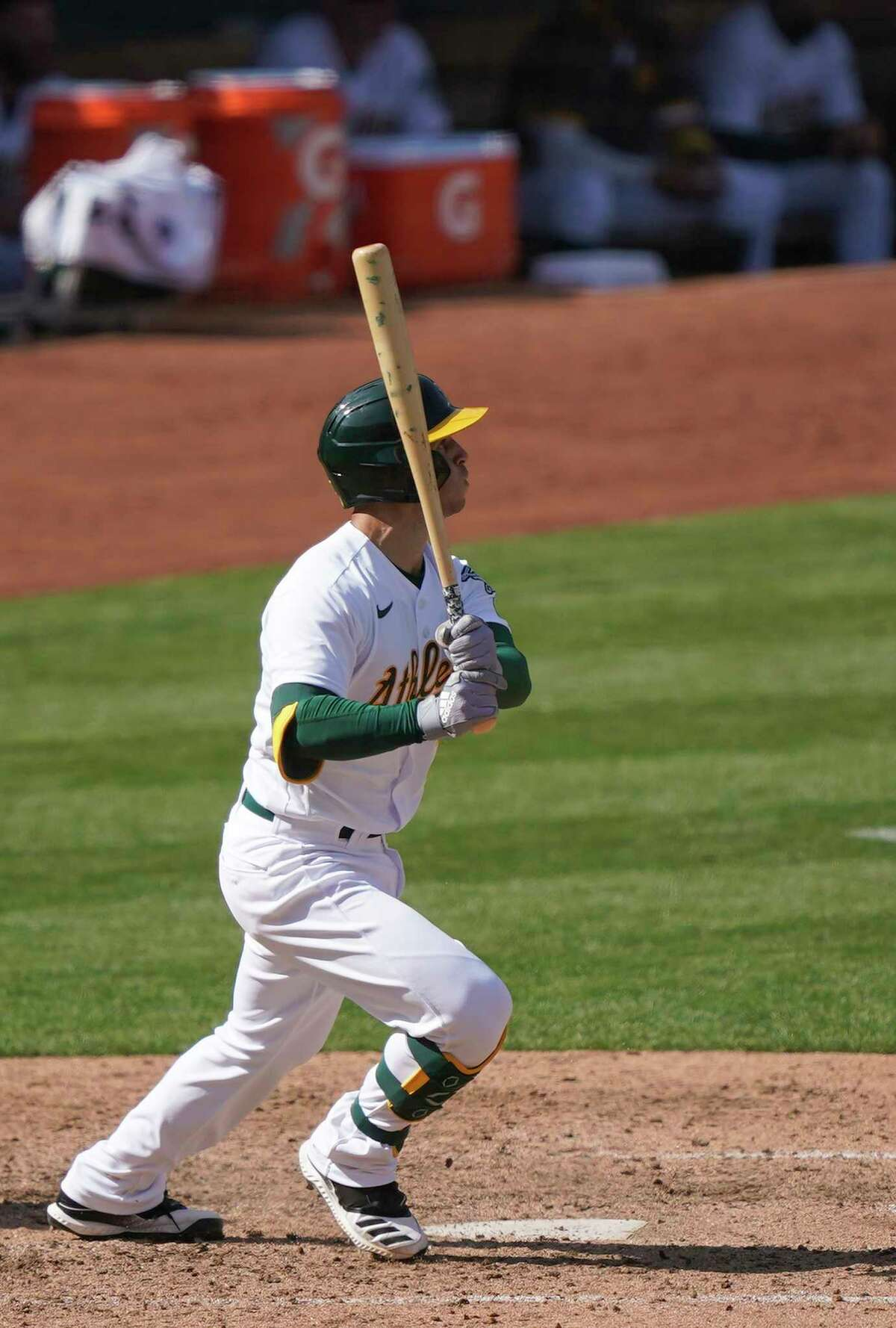 OAKLAND, CALIFORNIA - SEPTEMBER 19: Tommy La Stella #3 of the Oakland Athletics hits a two-run RBI triple against the San Francisco Giants in the bottom of the seventh inning at RingCentral Coliseum on September 19, 2020 in Oakland, California. (Photo by Thearon W. Henderson/Getty Images)
