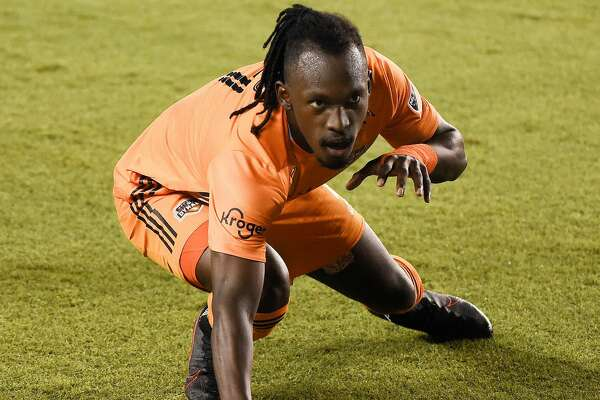 Houston Dynamo forward Alberth Elis celebrates his goal during the second half of an MLS soccer match against Sporting Kansas City, Saturday, Sept. 5, 2020, in Houston.