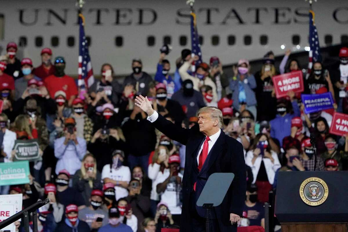 President Donald Trump wraps up his speech at a campaign rally at Fayetteville Regional Airport, Saturday, Sept. 19, 2020, in Fayetteville, N.C.