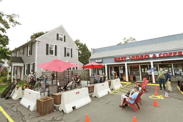 A new outdoor deck at Best Video and Coffee shop in Hamden on Sept. 17, 2020, where The Bargain band performed recently. The new deck helps facilitate Best Video's presentation of live music. Connecticut restaurants and bars have had to be innovative to stay in business during this COVID-19 era.