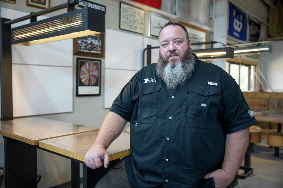 Chris Sadler poses for a portrait at Honor Café near downtown Conroe, Wednesday, June 17, 2020. Honor Cafe is the current meeting location for the Rotary Club of Conroe. Honor Cafe will also be the setting for the club's Oct. 22 Steak and Wine night fundraiser. Photo: Gustavo Huerta, Houston Chronicle / Staff Photographer / Houston Chronicle © 2020