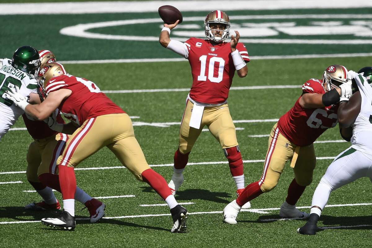Jimmy Garoppolo #10 of the San Francisco 49ers looks to pass during the first half against the New York Jets at MetLife Stadium on September 20, 2020 in East Rutherford, New Jersey. (Photo by Sarah Stier/Getty Images)