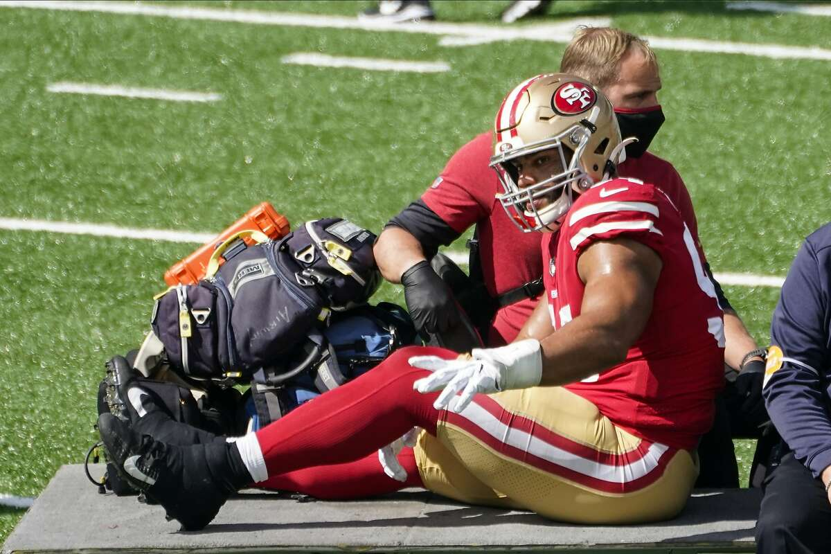 San Francisco 49ers' Solomon Thomas (94) is carted off the field during the first half of an NFL football game against the New York Jets, Sunday, Sept. 20, 2020, in East Rutherford, N.J. (AP Photo/Corey Sipkin)