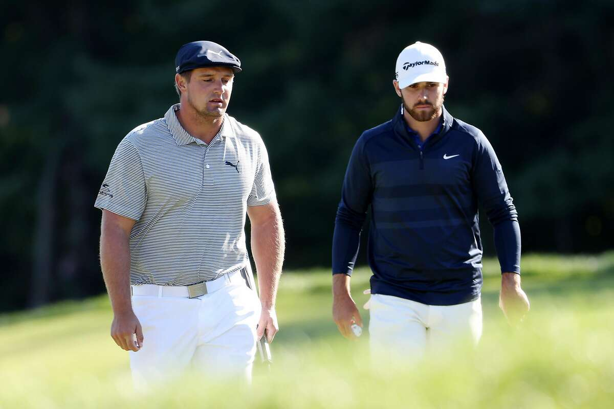 MAMARONECK, NEW YORK - SEPTEMBER 20: (L-R) Bryson DeChambeau of the United States stands on the 11th green alongside Matthew Wolff of the United States during the final round of the 120th U.S. Open Championship on September 19, 2020 at Winged Foot Golf Club in Mamaroneck, New York. (Photo by Jamie Squire/Getty Images)