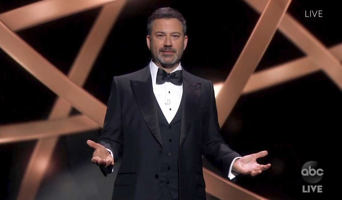 In this video grab captured on Sept. 20, 2020, courtesy of the Academy of Television Arts & Sciences and ABC Entertainment, host Jimmy Kimmel speaks during the 72nd Emmy Awards broadcast. (The Television Academy and ABC Entertainment via AP)