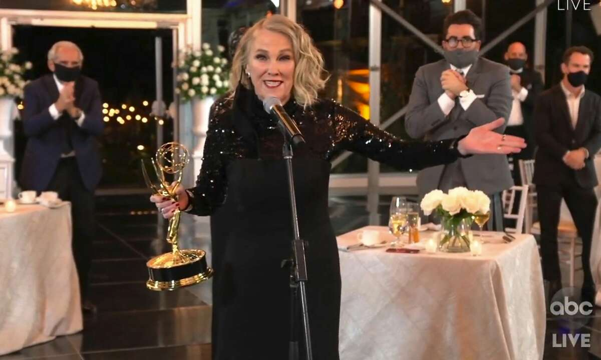 In this video grab captured on Sept. 20, 2020, courtesy of the Academy of Television Arts & Sciences and ABC Entertainment, Catherine O'Hara accepts the award for outstanding lead actress in a comedy series for