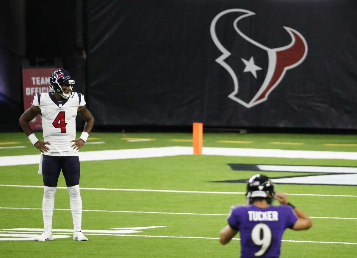 Houston Texans quarterback Deshaun Watson (4) stands alone on the field after wide receiver Keke Coutee fumbled the ball and Baltimore Ravens linebacker L.J. Fort picked the ball up and returned it for a touchdown during the first half of an NFL football game at NRG Stadium on Sunday, Sept. 20, 2020, in Houston.