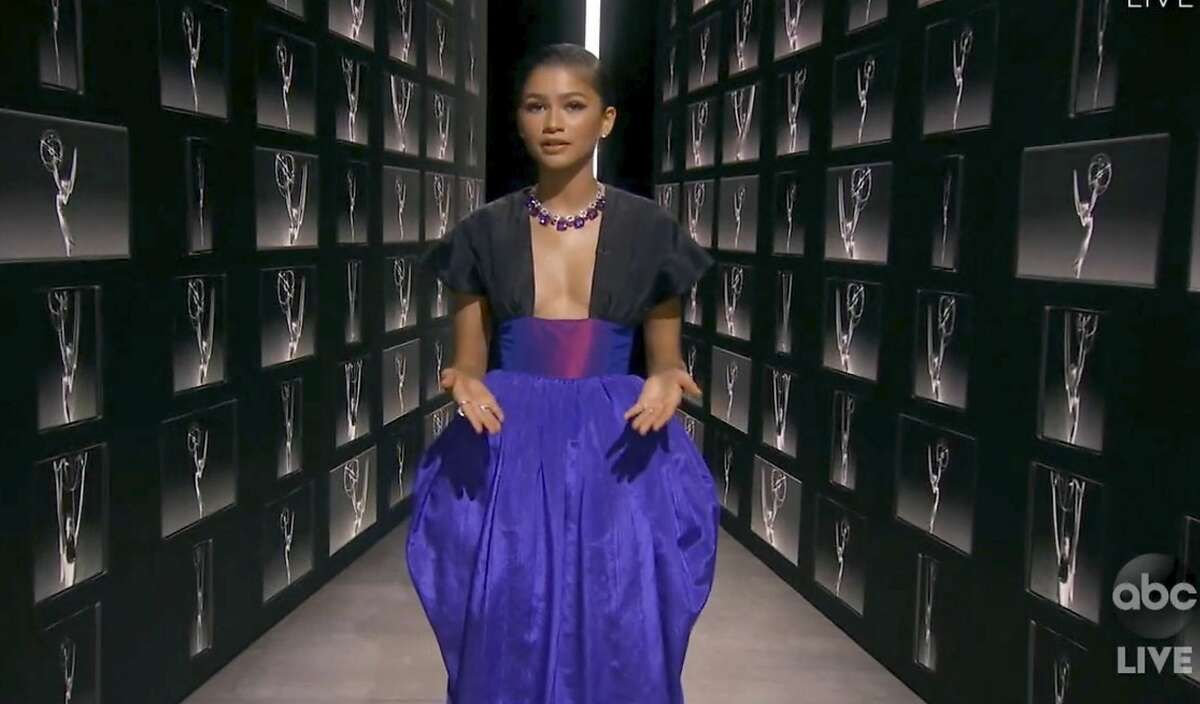 In this video grab captured on Sept. 20, 2020, courtesy of the Academy of Television Arts & Sciences and ABC Entertainment, Zendaya speaks during the 72nd Emmy Awards broadcast.