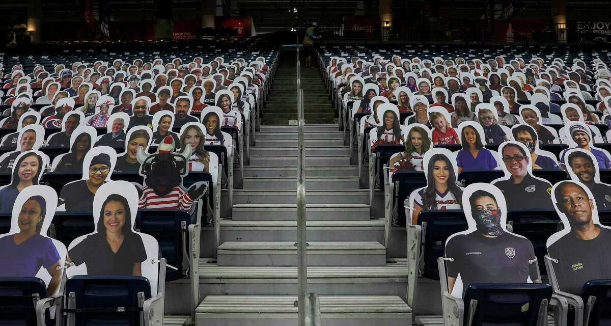 Fan cutouts were placed in seats before an NFL football game Sunday, Sept. 20 2020, at NRG Stadium in Houston.