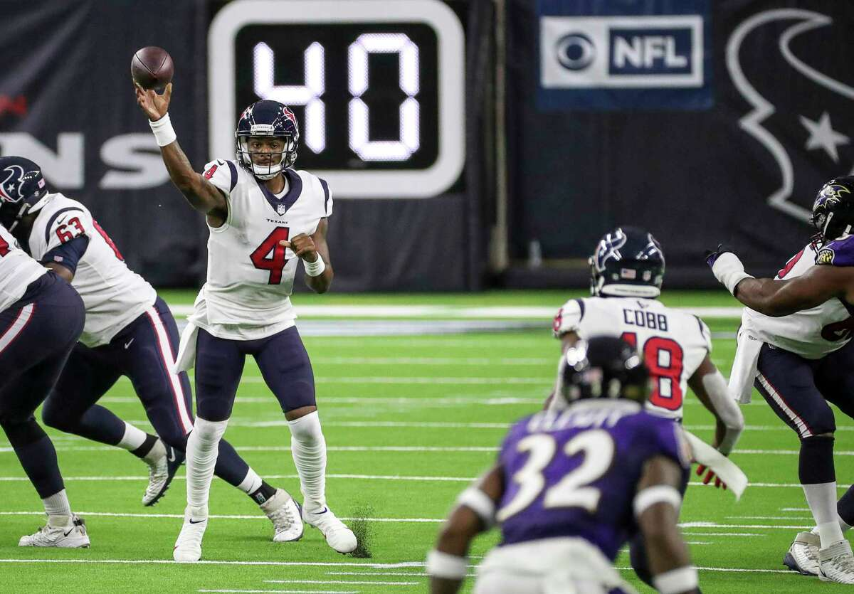 Developing chemistry with new receivers such as Randall Cobb (18) is a work in progress for Texans QB Deshaun Watson.