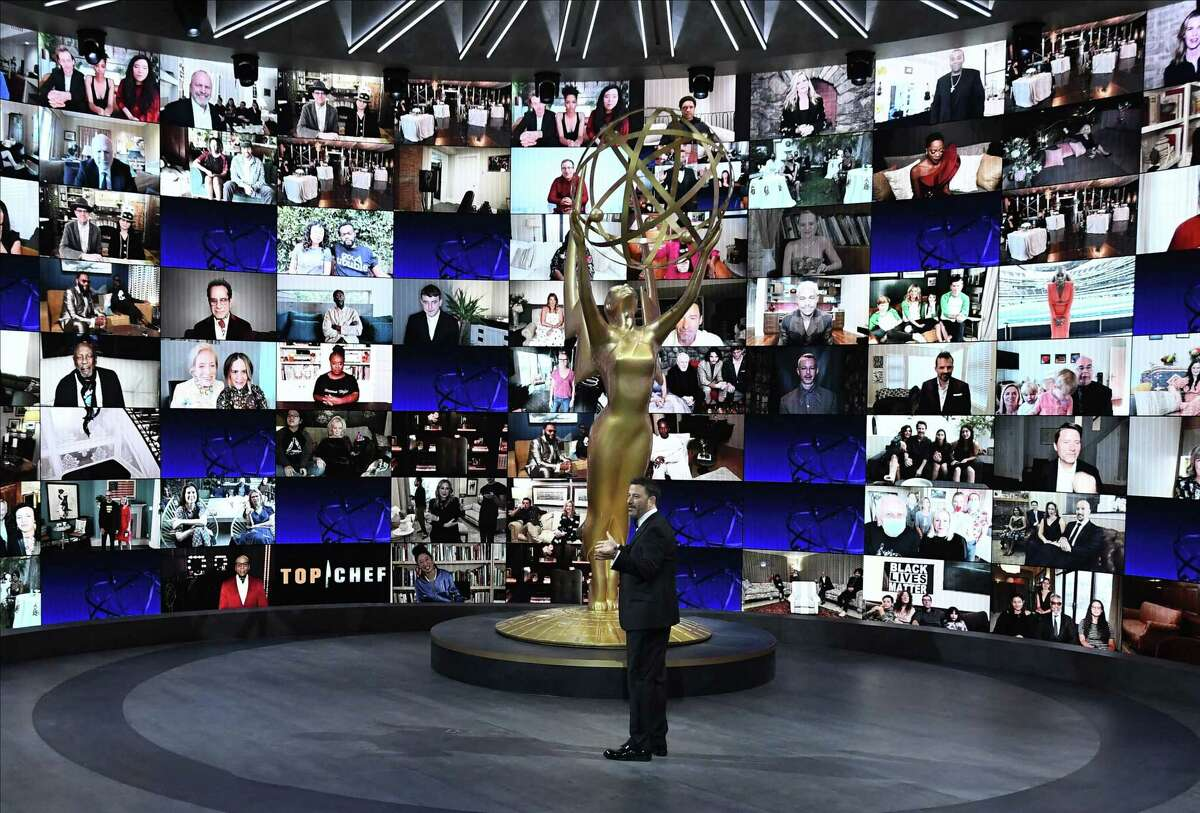 A series of Zoom screens are shown during the 72nd Annual Emmy Awards, airing from Staples Center in Los Angeles.