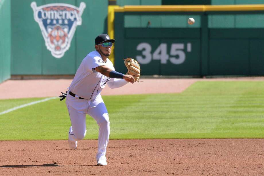 Detroit Tigers third baseman Isaac Paredes thows to first base for an out against the Cleveland Indians in the first inning of a baseball game, Sunday, Sept. 20, 2020, in Detroit. (AP Photo/Jose Juarez) / Copyright 2020 The Associated Press. All rights reserved