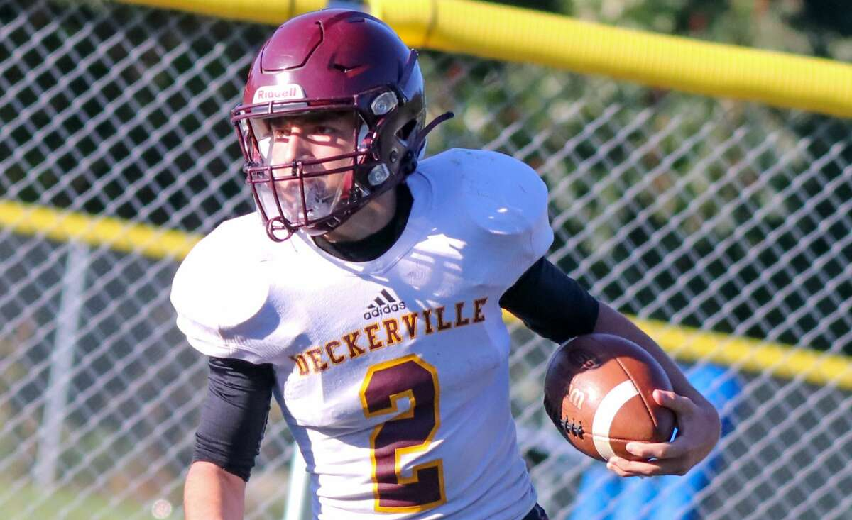 Deckerville's Willie Brown rushed for four touchdowns and returned a kick for a fifth TD on Friday as the Eagles beat New Haven Merritt Academy, 58-17.
