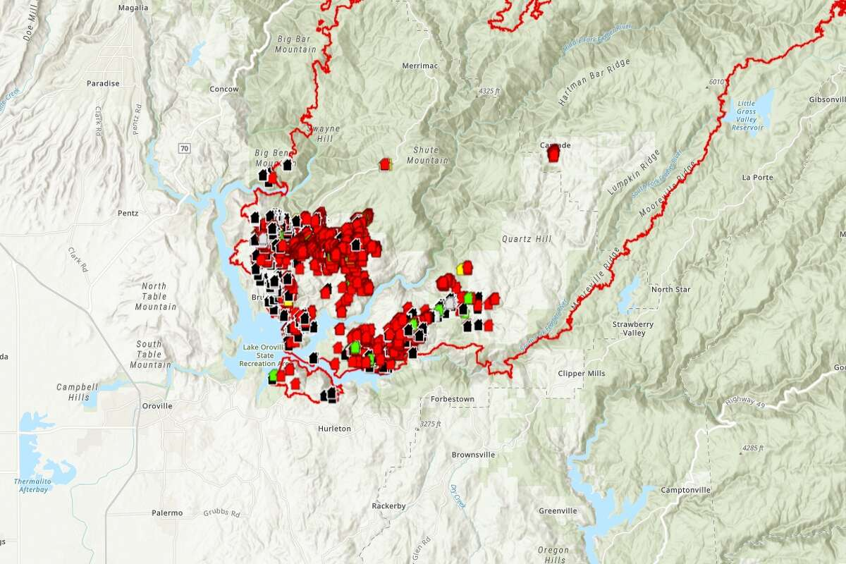 Cal Fire released a preliminary damage assessment map showing homes that were damaged or destroyed in the North Complex, a group of fires burning east of Chico.