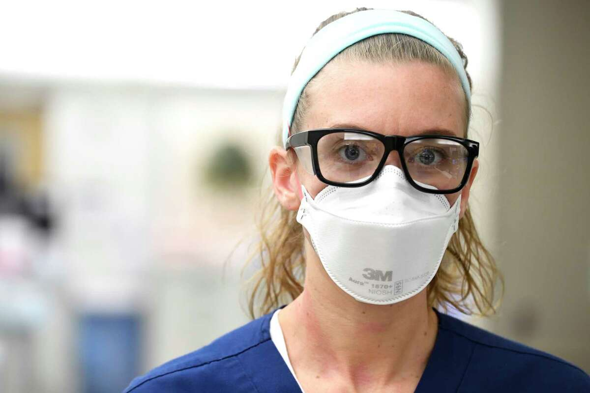 Kelly Williams is a nurse in the Emergency Department of the Johns Hopkins Hospital and must wear an N95 mask as part of her daily routine during the pandemic.
