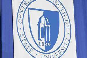 A file photo of a Central Connecticut State University flag.