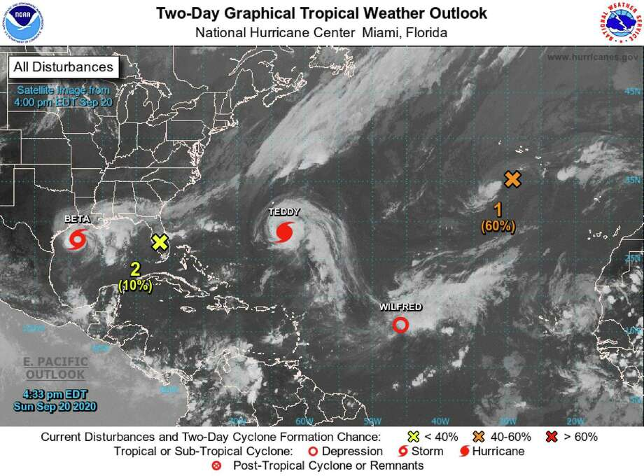 Tropical Storm Beta continues to slowly churn in the northwestern Gulf Coast toward Texas. Hurricane Teddy dropped from Category 3 to Category 2 on Sunday morning. (National Hurricane Center/TNS) Photo: National Hurricane Center, HO / TNS / TNS