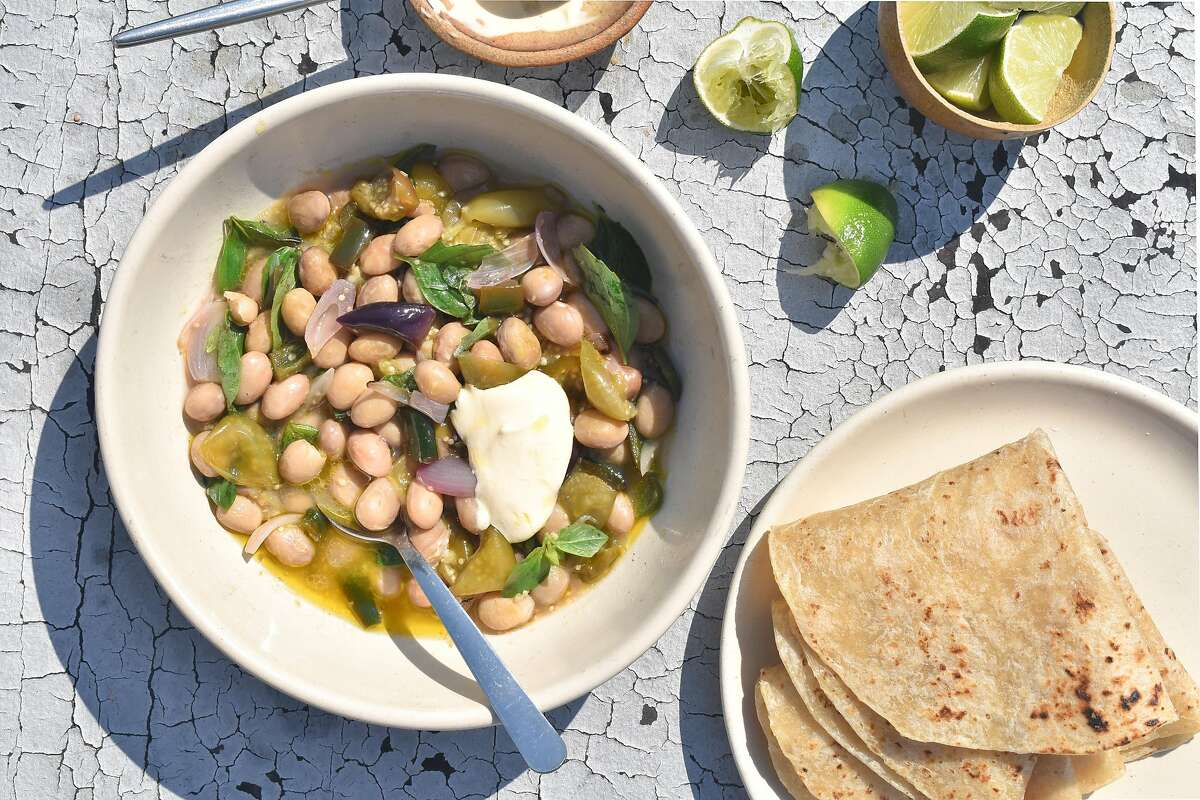 Fresh Cranberry Bean Chile Verde are made with fresh cranberry beans.