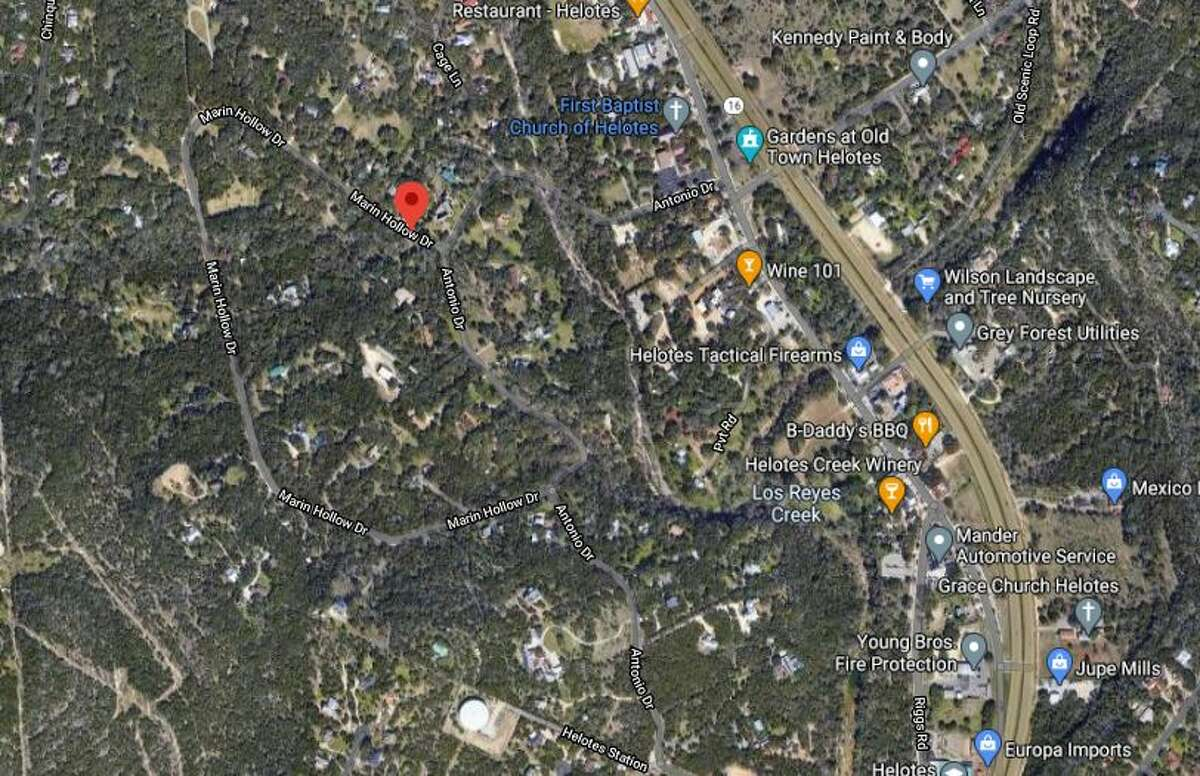 The Helotes police department is investigating a dead body found at a home in 14600 block of Marin Hollow Drive. The map shows the approximate location of the home.