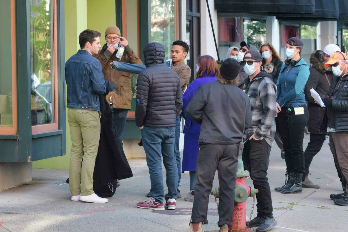 Cast and crew from the Amazon television show Modern Love, prepare to film a scene along River Street on Monday, Sept. 21, 2020, in Troy, N.Y. The show is filming in Troy for several days. (Paul Buckowski/Times Union)