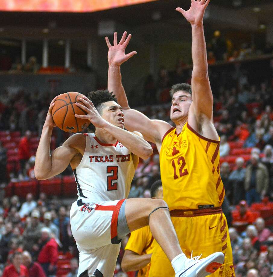 Texas Tech's Clarence Nadolny goes inside of Iowa State defender Michael Jacobson during their Big 12 men's basketball game on Jan. 18, 2020 in United Supermarkets Arena. Photo: Nathan Giese/Planview Herald