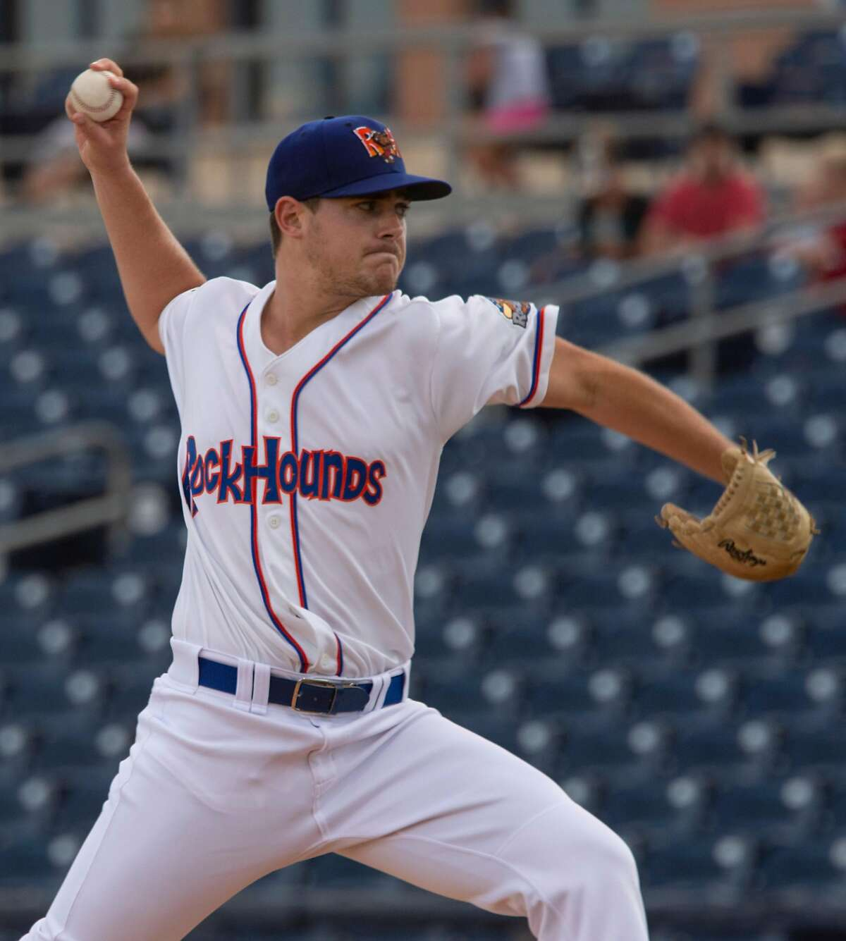 Midland starting pitcher Mitchell Jordan delivers a pitch 09/07/19 as the RockHounds take on the Amarillo Sod Poodles in game 4 of the Texas League Division playoff. Tim Fischer/Reporter-Telegram