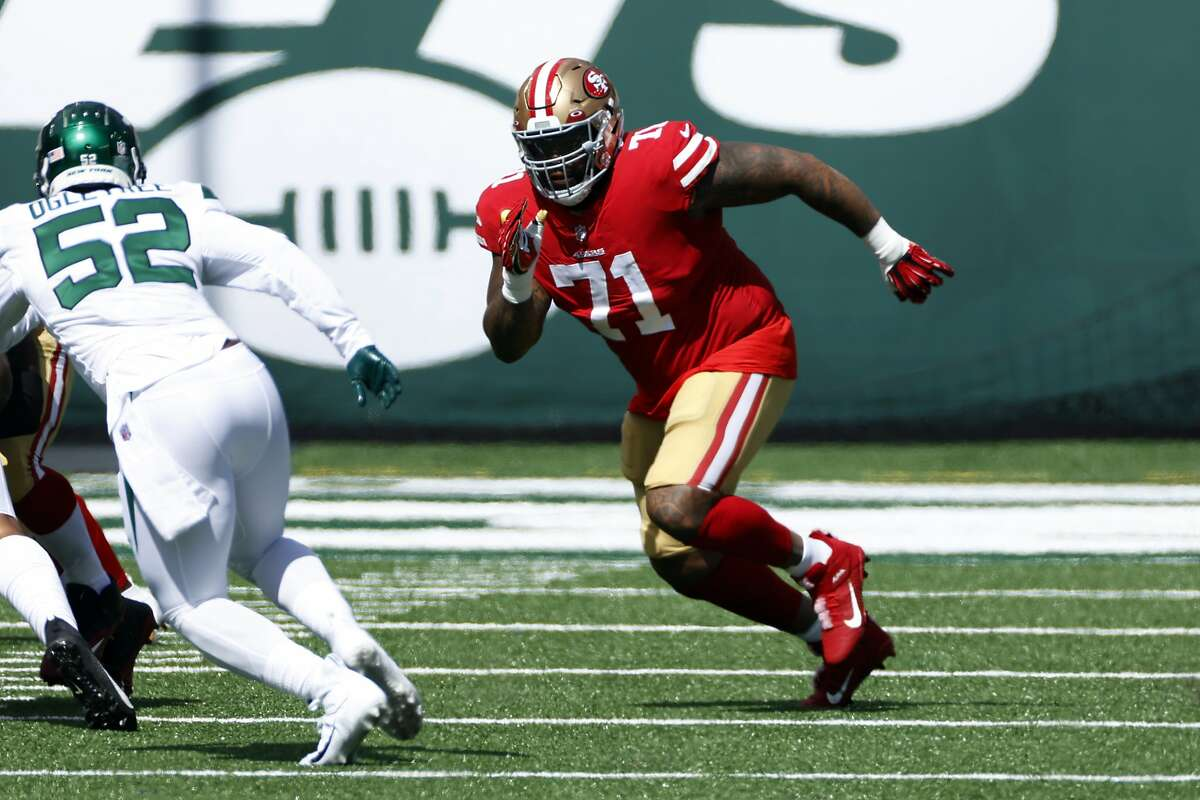 San Francisco 49ers offensive tackle Trent Williams (71) in action against the New York Jets during an NFL football game, Sunday, Sept. 20, 2020, in East Rutherford, N.J. (AP Photo/Adam Hunger)