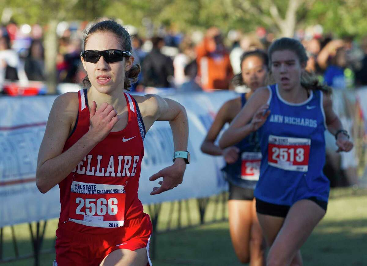 Cate Urbani of Houston Bellaire competes in the Class 6A girls race during the UIL State Cross Country Championships, Saturday, Nov. 3, 2018, in Round Rock.