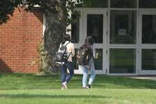 A pair of West Shore Community College students walk on campus. This year, WSCC is holding roughly 60% of its courses online, which is a substantial jump from the 30% of years past.