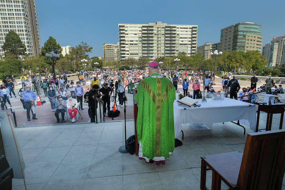 San Francisco Catholic Archbishop Salvatore Cordileone at an outdoor mass at the Cathedral of St. Mary of the Assumption on Sept. 20, 2020