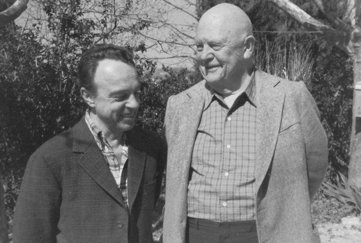 James Beard (right) with Richard Olney in 1974 in Placassier, France.