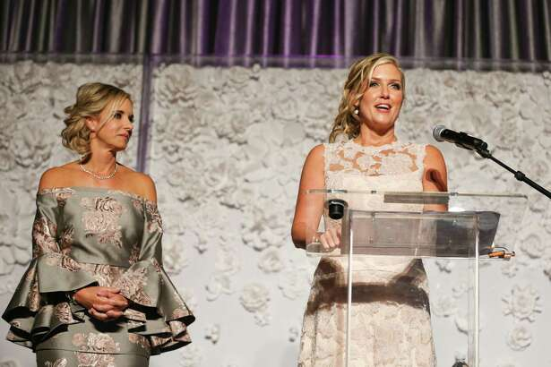 Like many other events in 2020, the annual Memorial Hermann In the Pink of Health gala has been canceled and replaced with what organizers described as an enhanced virtual event. The gala is a major fund-raiser for breast cancer awareness and research and normally sees hundreds of attendees don elaborate garb and outfits while raising money over a luncheon. In this 2017 photo, hosts Cheryl Brady, left, and Tiffany McClung, right, co-chairs for the In the Pink of Health committee, speak during the 2017 luncheon.