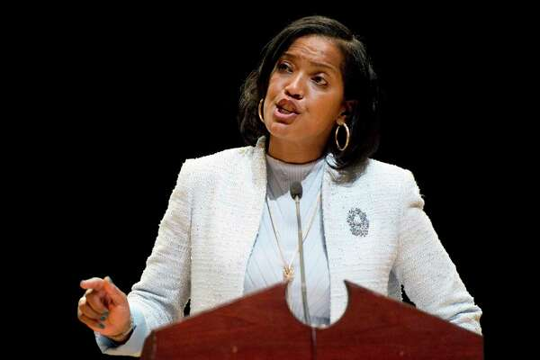 FILE- In this May 14, 2018 file photo, candidate Jahana Hayes addresses delegates during the Democratic convention for the 5th District in Waterbury, Conn. (Jim Shannon/Republican-American via AP, File)